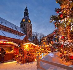Christmas Market at Dome Square; Riga, Latvia