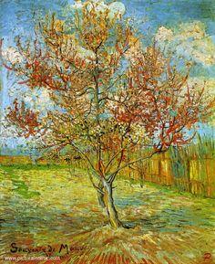 Van gogh Arles Pêcher en fleurs dans un paysage 1888