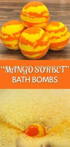 ideas bath bombs fizzy diy spa for 2019 Mango Sorbet, Bath Bomb Recipes, Soap Recipes, Homemade Bath Bombs, Diy Bath Bombs, Shower Bombs, Lush Bath Bombs, Bath Fizzies, Bath Salts