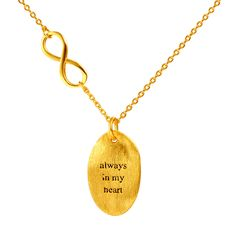 Yan & Lei Sterling Silver Oval Shape Pendant Necklace with Always in My Heart Lettering on and Infinity Logo Charm in Golden Color
