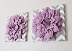 "TWO Wall Flowers -Lilac Dahlia on Gray and White Chevron 12 x12"" Canvas Wall Art- Baby Nursery Wall Decor-"