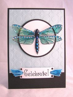 Created with the Hero Arts Digital Kit Winged Friends for the Caardvarks Hero Arts Digital Showcase. The dragon fly was printed on a transparency then colored with permanent markers and Sukura Souffle pens.