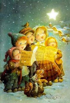 An All A Good Night und Buon Natale, Frohe Weihnachten, Joyeux Noel, Feliz Navidad . Vintage Christmas Images, Old Christmas, Old Fashioned Christmas, Christmas Scenes, Retro Christmas, Vintage Holiday, Christmas Carol, Christmas Pictures, Christmas Greetings