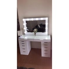 Vanity Table with two 5 drawer dressers - Medina Vanity Cute Bedroom Decor, Bedroom Decor For Teen Girls, Bedroom Ideas, Vanity Makeup Rooms, Makeup Desk, 5 Drawer Dresser, Mirror Drawers, Hollywood Vanity, Lighted Vanity Mirror