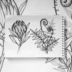 sketch sketchbook botanical illustration flowers fern protea протея папоротник рисунок блокнот Best Sketchbook, Sketchbook Challenge, Botanical Illustration, Illustration Art, Illustrations, Geometric Drawing, Tattoo On, Creative Journal, Watercolor Fashion