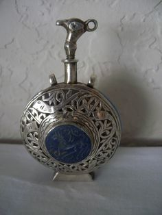 Sterling Silver Middle East Jordanian Perfume Scent Bottle Lapis Ornate Design