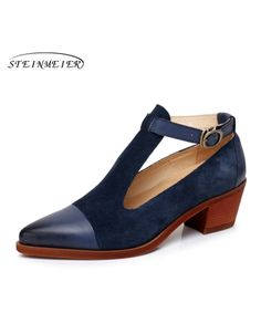 92cb477283f Genuine leather yinzo designer vintage Pumps shoes pointed toe ...