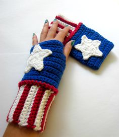 Power Wristies. Captain America Inspired Wristwarmers. Superhero Fingerless Gloves. Crochet Avengers Marvel Comics Accessory. Cosplay.