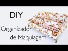 DIY: Como Fazer ORGANIZADOR MAQUIAGEM com Papelão e Tecido   Ideias Personalizadas - DIY - YouTube