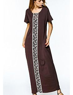Women's+Work+Loose+Dress,Print+Round+Neck+Maxi+Short+Sleeve+Polyester+Summer+Mid+Rise+Micro-elastic+Opaque+–+CAD+$+25.35 Short Sleeve Dresses, Shorts, Summer, Stuff To Buy, Shopping, Fashion, Moda, Summer Time, La Mode