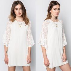 Lace Flutter Sleeve Dress White lace flutter sleeve dress. Available in white and silver. This listing is for the WHITE. Runs loose. NO TRADES DON'T ASK. Bare Anthology Dresses Mini