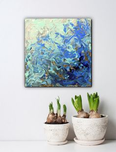 Abstract art small acrylic paintings blue canvas by artstudioAreti