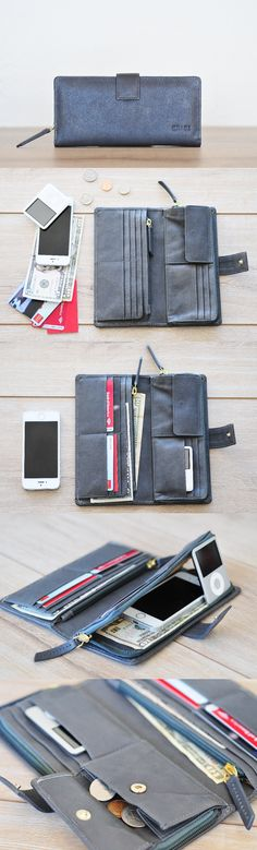 Playful modern leather wallet by #TheLeatherExpert with unbeatable functionality - store all your cards, bills, documents and even phone in one minimalist wallet.