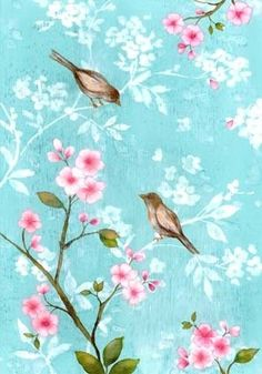 Shabby chic print with pink flowers & little birds