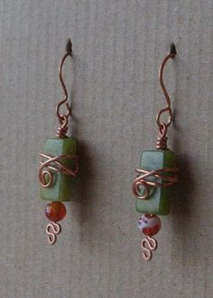 Love the wrapping on these - Fun earrings wire wrapped copper green by SeriousGooseDesigns, $18.00 by vivian