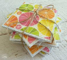 summer hostess gift with DIY cork coasters at thehappyhousie