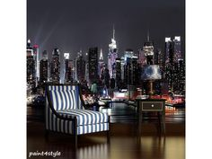 Fototapete 1309 New York Papier Manhattan Night 368 x 254 cm New York Wallpaper, City Wallpaper, Photo Wallpaper, Manhattan, How To Apply Wallpaper, Night Sky Photos, Poster Mural, Nyc Skyline, Night City