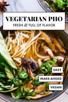 This vegetarian pho is FULL of FLAVOR, thanks to spices, herbs and sautéed shiitake mushrooms! It's fun to make, too. Warm up with homemade pho! recipes easy crock pots Vegetarian Pho Recipe (Vietnamese Noodle Soup) - Cookie and Kate Vegetarian Pho, Vegetarian Recipes, Healthy Recipes, Vegetarian Vietnamese, Pho Soup Recipe Vegan, Crock Pot Pho Recipe, Pho Recipe Easy, Vegetarian Dishes Healthy, Vegan Recipes