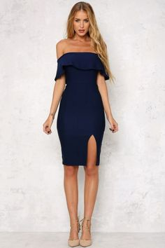 Think something sexy and exotic in the Persian Rugs Midi Dress! This stunning off the shoulder dress has a decorative ruffle across the bust and easy grip lining on the inside of the dress. With a cute short sleeve, an invisible zipper running through the Grad Dresses, Short Dresses, Formal Dresses, Navy Midi Dress, Dress Up, Dressy Outfits, Fashion Outfits, Elegantes Outfit, Frack