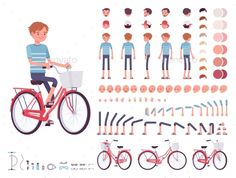 Young Man Cycling City Bike. Character Creation