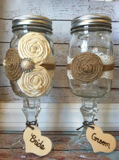 bride and groom mason jar WEDDING GLASSES/ burlap wedding , barnyard wedding / wine glasses. $29.99, via Etsy.