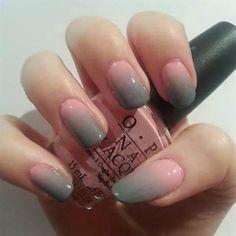 Pink and grey nails