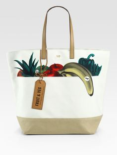 A smart summer tote that's beach and pavement ready:  Anya Hindmarch canvas fruit and vegetable tote bag. #discoversummer