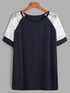 Shop Navy Contrast Lace Raglan Sleeve T-shirt online. SheIn offers Navy Contrast Lace Raglan Sleeve T-shirt & more to fit your fashionable needs.