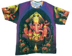 A super awesome vintage from the 90s Indian deity T-shirt with an all over print of Lord Ganesh. Great for parties.  35% Cotton, 65% Polyester  Sizes: Shoulder to shoulder  M (inches) 18 L (Inches) 20 XL (inches) 21  Armpit to armpit  M (inches) 20 L (inches) 22 XL (inches) 23  Length  M (inches) 25.5 L (Inches) 28 XL (inches) 29
