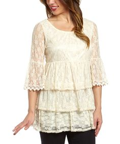 Another great find on #zulily! Lady Noiz White Lace Three-Quarter Sleeve Top by Lady Noiz #zulilyfinds