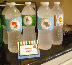 Safari Jungle themed birthday party!  Personalized water bottle labels!  Cute!  That Party Chick!  www.thatpartychick.net