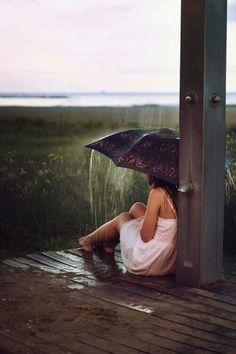 Black and White photography girl with umbrella rain crops country pole Rain Photography, White Photography, Photography Styles, Inspiring Photography, Rainy Wallpaper, I Love Rain, Beach Shower, Romance, Singing In The Rain
