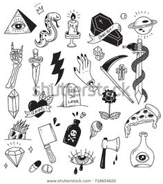 Find Various Tattoo Element Doodle Isolated On stock images in HD and millions of other royalty-free stock photos, illustrations and vectors in the Shutterstock collection. Thousands of new, high-quality pictures added every day. Kritzelei Tattoo, Doodle Tattoo, Poke Tattoo, Mini Tattoos, Cute Tattoos, Small Tattoos, Tattoos For Guys, Retro Tattoos, Tatoos
