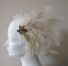 Vintage Jewel Ivory Peacock And Ostrich Feather Hair Clip