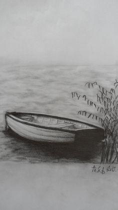 pencil boat drawing lake boats charcoal drawings draw landscape sketches paintings landscapes fishing sketch balaton tips lakes sailboat tutorials shading