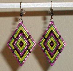 Pink+Green+Yellow+Black+Diamond+shaped+Beaded+by+TheCraftyCuban,+$25.00
