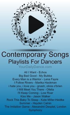 Songs - Playlist 38 Contemporary PlaylistChristmas Songs Christmas Songs may refer to: Dance Music Playlist, Songs For Dance, Dance Tips, Song Playlist, Just Dance, Dance Stuff, Lyrical Dance Songs, Contemporary Dance Songs, Modern Dance