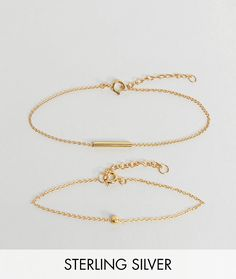 ASOS Pack of 2 Gold Plated Sterling Silver Ball and Chain Bracelets -