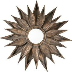 Mirror Image Distressed Gold Metal Sunburst