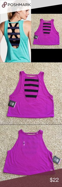 NWT L VSX Strappy tank Brand new. No flaws! Pretty purple with black straps. Size L, could fit an M oversized   Make sure to check out all of my other VS listings if you'd like to bundle!   Any questions just ask! Multiple items get big discounts! PLEASE NO LOWEST!   Smoke free but pet friendly! (There might be some stray cat hair even though I always lint roll before sending things out!)   Check out my closet for more great/cheap items! :) Victoria's Secret Tops Tank Tops