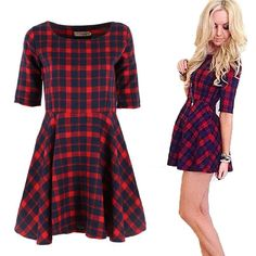 New Women Red Plaid Dress Round Neck Summer Half Sleeve Fashion Mini Dress. Gender: WomenWaistline: NaturalDecoration: NoneSleeve Style: RegularPattern Type: PlaidStyle: CasualMaterial: CottonSeason: SummerDresses Length: Above Knee, MiniNeckline: O-NeckSilhouette: Ball GownSleeve Length: HalfModel Number: prom dress