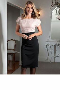 Grace Hill Lace Ponti Ladies Dress Black/Blush 12
