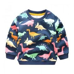 Comfy Dinosaur Patterned Long-sleeve Pullover for Boy