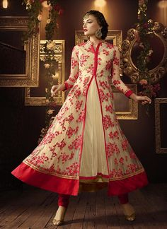 Buy Cream and red color netted party wear anarkali suit at kollybollyethnics with free worldwide shipping.