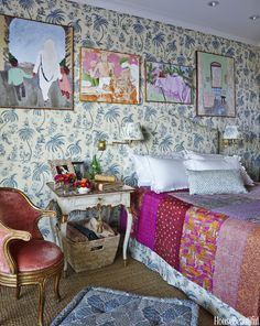 """""""This bedroom makes me very happy,"""" Fine says."""