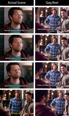 [gifset] Actual scene vs. gag reel. 9x06 Heaven Can't Wait