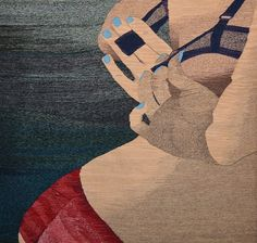 Using traditional tapestry techniques, Erin M.Riley weaves images of women in states of undress or exposure, personal objects or landscapes that are related to destruction and death. With her work, she is examining the honesty of sexuality but also how courtships, pornography and sex is changing as a result of the mass depiction of these intimate moments online.