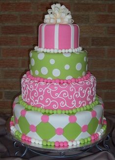 Pink and Green show cake..