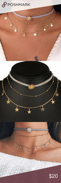 Multi-Layer 3 Piece Star Choker Necklace Set NWT Gold Tone Choker Set Includes 3 Separate Chokers ~ Can Be Worn Together Or Separate ~ In mixes Gift/ Jewelry Box ~ Bundle and Save ~ Ships Daily ~ Thank You ~ Boutique Jewelry Necklaces