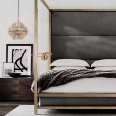 Just  this 4 poster bed by RH Modern. #interiordesign #interiors #design #decor #homedecor #bedroom #furniture #luxuryinteriors #vogueliving #adrussia #admiddleeast #elledecor by lawson_robb